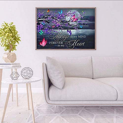 5D Diamond DIY Paintings kit for Adults,Round Full Drill Moon Butterfly Plum Flowers Text Diamond DIY Paintings,Crystal Rhinestone Embroidery Diamond DIY Paintings,Home Decor Gifts, 30x40cm