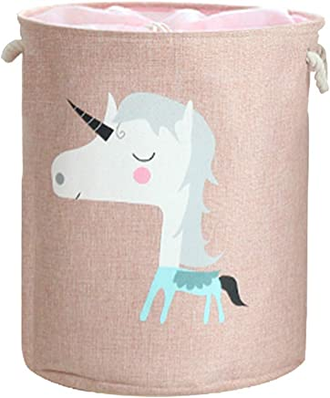 VictoryMeet Large Storage Basket With Animal Pictures round storage basket  large cotton and linen storage basket ideal for toy storage  kids storage and laundry hamper  unicorn