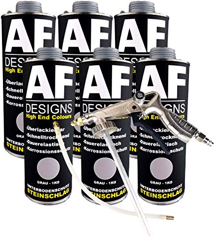Alex Flittner Designs Steinschlagschutz/Unterbodenschutz grau 6x1kg überlackierbar + Unterbodenschutz Pistole Hohlraumpistole | Rostschutzpistole | Spritzpistole