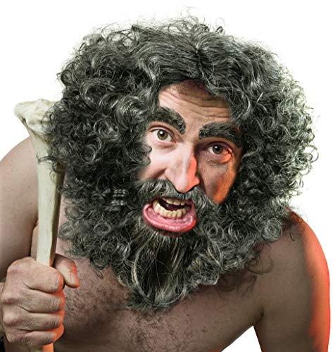 Balinco Peluca y la Barba + Cejas Urmensch | neandertales | Waldschrat | Ermitao en Gris/ Gris Oscuro a Carnaval o el Carnaval