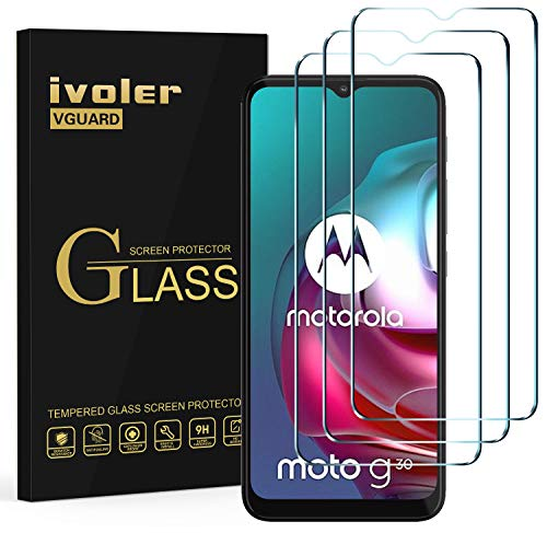 ivoler 3 Stücke Panzerglas Schutzfolie für Motorola Moto G30 / Moto G20 / Moto G10, 9H Festigkeit Panzerglasfolie, Anti-Kratzen Folie, Anti-Bläschen Bildschirmschutzfolie, Kritall-Klar Hartglas