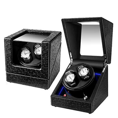 Caja Giratoria para Relojes Caja de enrollador de reloj automático, estuche de cuero con almacenamiento, 5 modos de rotación con motor silencioso for 2 relojes de reloj giratorio, regalo Caja de almac