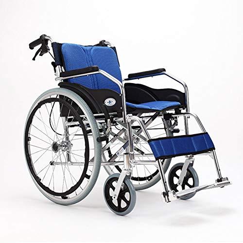 Amimilili Faltrollstuhl Leichter Rollstuhl Leichtgewichtrollstuhl Sitzbreite 50 cm,Blau