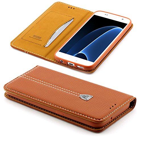 Preisvergleich Produktbild ScorpioCover [S7 Edge] Handy Schutz Tasche Noble Series Cover kompatibel mit Samsung Galaxy [S7 Edge] edle Book Style Hülle mit Aufstellfunktion und Kartenfach braun
