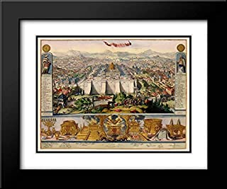 Jerusalem Israel Temple Picture - DHooghe 1687 24x20 Black Modern Frame and Double Matted Art Print by D''Hooghe Vintage Map