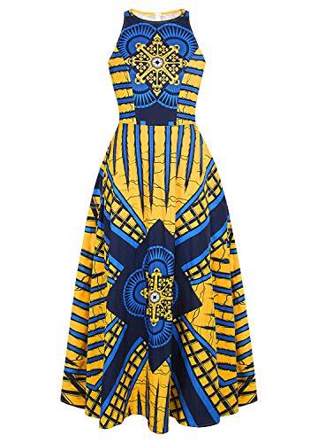 Liliam Women's Boho African Print Maxi Long Dress Sleeveless Cocktail Party Dress(StyleJ L)