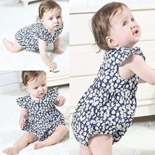 JJSFJH Baby Girl Cute Flying Sleeve Summer Romper Dress Floral Pattern Jumpsuit Clothes (Color : Pink-80)