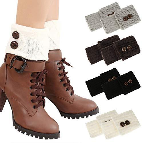 Rubywoo&chili 4 Paare Stulpen Bein Beinwärmer Damen, Winter Kurze Stricken Gestrickte Legwarmer Boot Abdeckung Socken für Frauen Mädchen