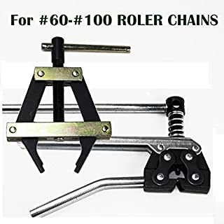 Roller Chain Tools Kit For ANSI #60 #80 #100 And More, Chain Holder/Puller and Breaker/Cutter