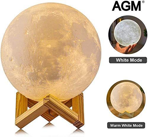 3D Luna Lampada Led, AGM USB Luna Lampada led luna luce 2 Colori Regolabile LED Luce Notturna Toccare il Controllo, Ricaricabile LED Luna 3D Stampata Lampada Luna per Camera da Letto (5.91 inch)
