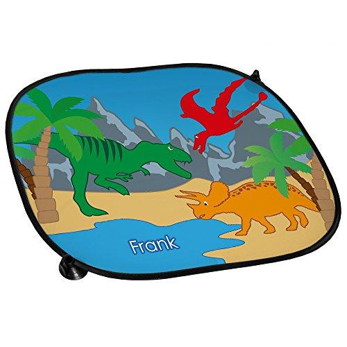 Auto-Sonnenschutz mit Namen Frank und schönem Dinosaurier-Motiv für Jungs - Auto-Blendschutz - Sonnenblende - Sichtschutz