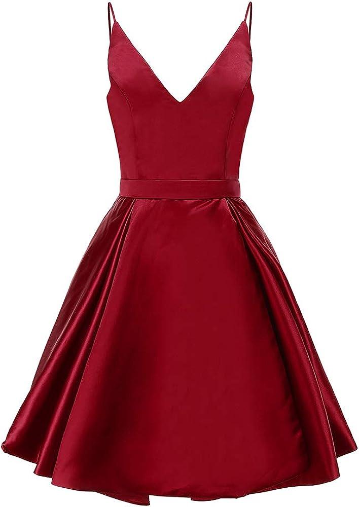 Ailidaw Women's Spaghetti Straps Homecoming Dresses Short Satin V-Neck Prom Dress with Pockets