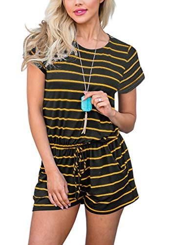Swiland Rompers and Jumpsuits for Women Juniors Summer Cute Short Stripe Jumper Yellow,L