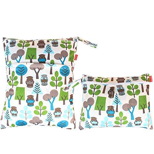 Damero 2 Stück/Set Windeltasche Baby, Wiederverwendbare Wetbag, Waschbar Windeltasche, Feuchttücher Organiser Beutel, Grüne Wälder