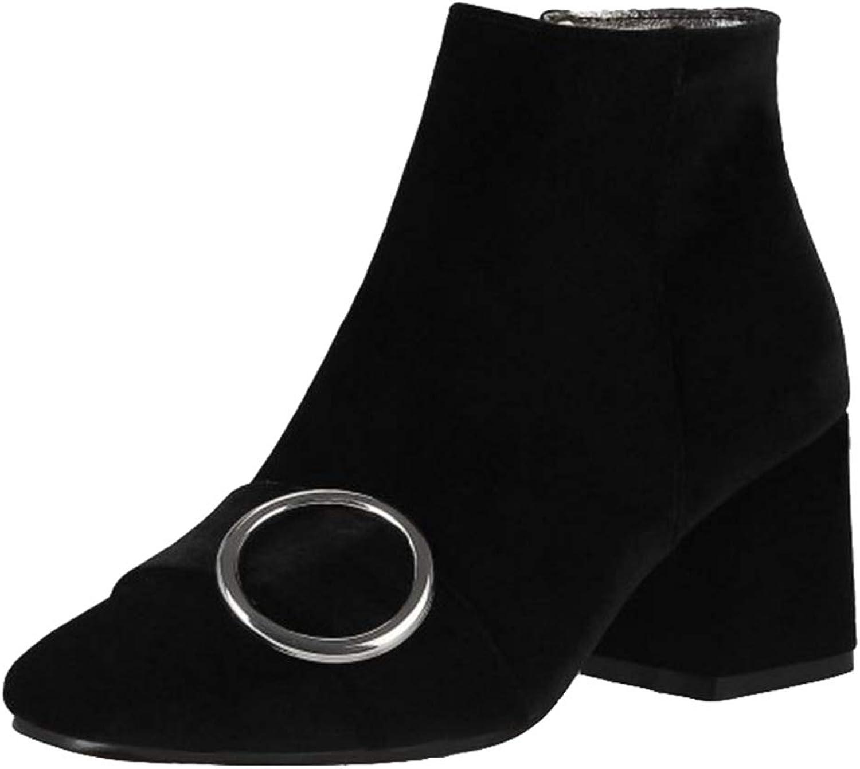 Onewus Women Fashion Velvet Ankle Boots