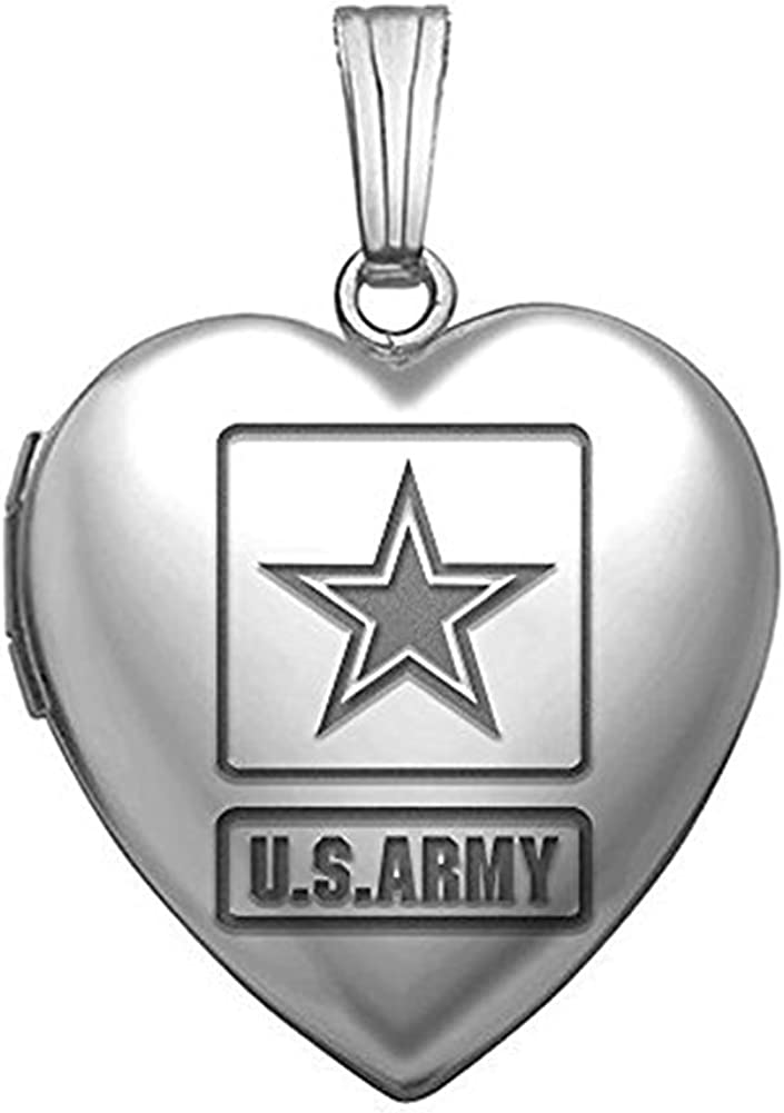 Max 76% OFF PicturesOnGold.com Sterling Silver Direct stock discount Army Heart 4 Inch 3 Locket X