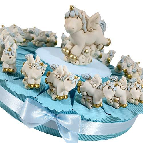 Torta Porta bomboniere per Battesimo Nascita 1° Compleanno a Tema unicorni Cavalluccio Celeste a Dondolo per Maschietto (Torta da 20 fette Unicorno Statuetta)