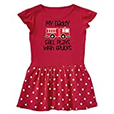 inktastic Firefighter Daddy Plays with Infant Dress 6 Months Red and Polka Dot