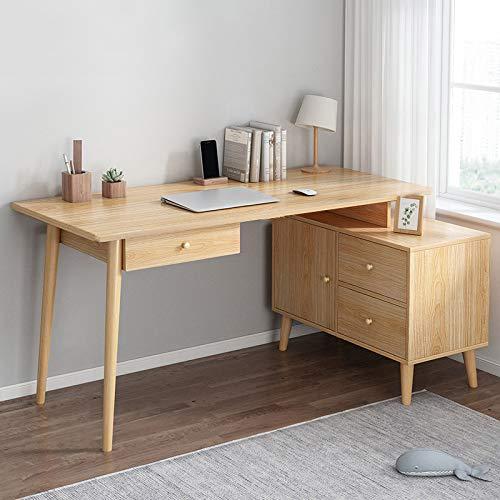 YAOJP Mesa De Ordenador con Cajones, Sencillo Escritorio para Escritorio Retráctil Giratorio Mesa De Oficina para Dormitorio De Casa Mesa De Estudio 120X60x75cm,Wood Color