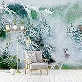 Papel Tapiz 3D Imagen Mural Nórdico Bosque De Nieve Alce Sala De Estar Dormitorio Fondo Decoración De La Pared Para Sala De Estar Sofá Tv Fondo Dormitorio Decoración De La Pared 400(W) X280(H) Cm