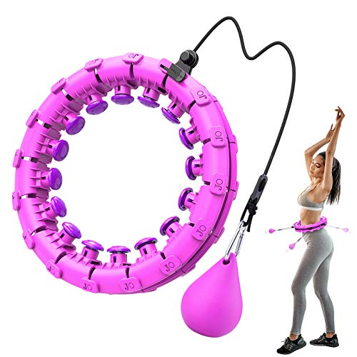 Bluefire Hoop Fitness Professionale Dimagrante, Regolabile 24 Nodi Fitness Massage Perdita di Peso Hula Smart Hoop, Cerchio con Pesi Adatto per Adulti, Bambini, Principianti(Viola)