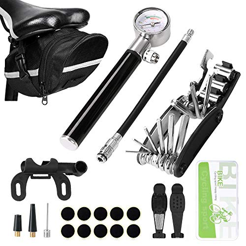 Odoland Bike Tire Repair Tool Kit with 210 PSI Gauge Hand Pump Fits Presta and Schrader Valve, 16 in 1 Multi Bicycle Fix Tools, Patch Tool Tyre Puncture Repair Kit and Work Bag