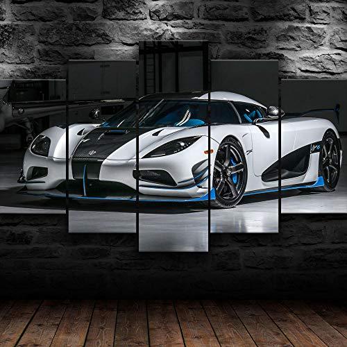 45Tdfc 5-teiliger Kunstdruck auf Leinwand Koenigsegg Agera R Weißer Supersportwagen frisches Aussehen,Wandbild, für zuhause, Moderne Dekoration für Wohnzimmer(Rahmenlos)