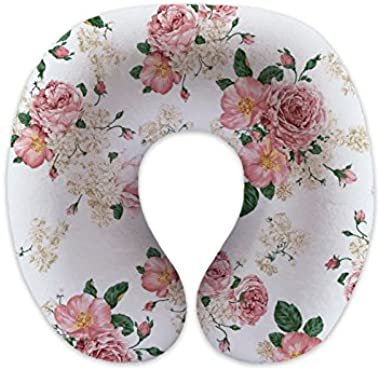 wendana Rose Flowers Travel Pillows Children Neck Pillows Memory Foam Neck Pillows for Airplanes for Sleeping Christmas Gifts Birthday Gifts