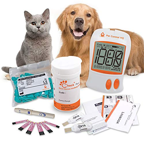 Pet Control HQ Blood Sugar Glucose Monitor System Calibrated for Dogs and Cats – Kit with Glucometer- Accurate Diabetes Testing w/ 2 Calibrated Code-Chips, 50 Diabetic Test Strips, Lancets, Logbook