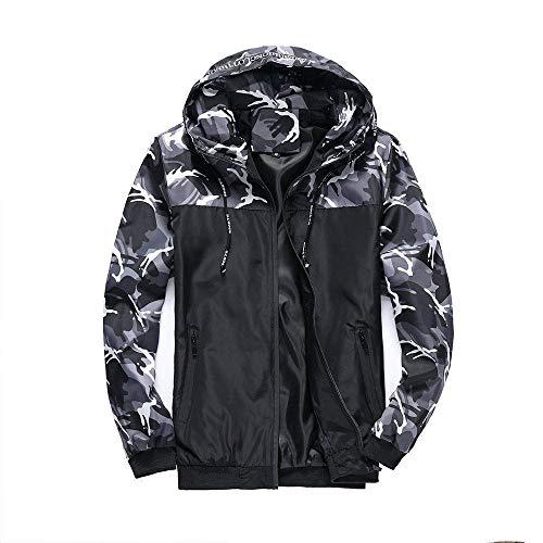 Chaqueta para hombre con capucha con estampado de camuflaje ligero, resistente al viento, ajuste delgado, abrigo para exteriores BJY969 (color: gris, tamaño: 5XL)