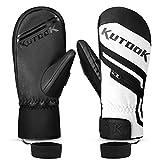 KUTOOK Winter Ski Mittens Waterproof Thermal Fleece Snowboarding Gloves with The Convenient Pocket
