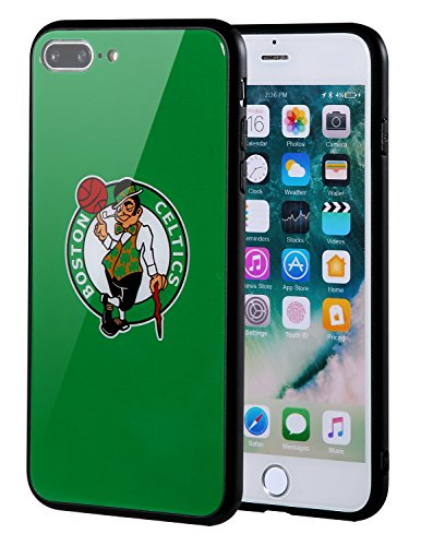 The Mass iPhone 8 Plus case, iPhone 7 Plus case, NBA Team Logo on Tempered Glass Back Cover and Soft TPU Frame for iPhone 8 Plus/7 Plus (Boston Celtics)