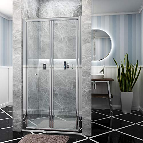 ELEGANT 760x1200mm Bifold Shower Enclosure Folding Glass Shower Cubicle Door with Shower Tray Set in...