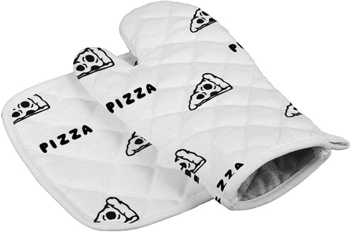 Insulation Gloves Pizza Draw By HandOven Mitts Professional Heat Resistant To 500 C Thickening Version Non Slip Kitchen Oven Gloves For Cooking Baking Grilling Barbecue Potholders
