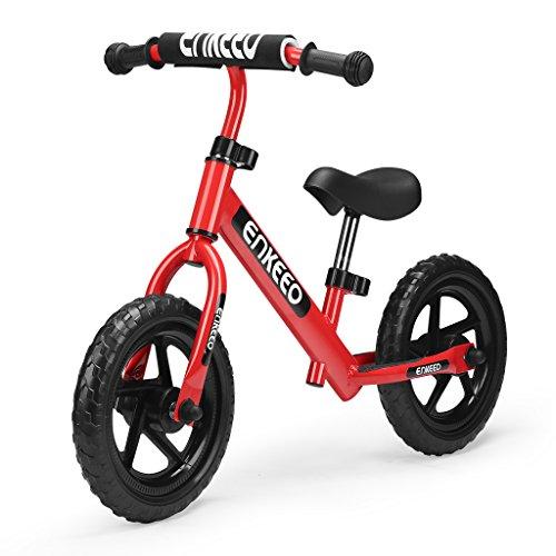 ENKEEO 12″ No Pedal Balance Bike for 2-6Years Old Kids, Carbon Steel Frame, Adjustable Handlebar and Seat, 50kg Capacity, Black