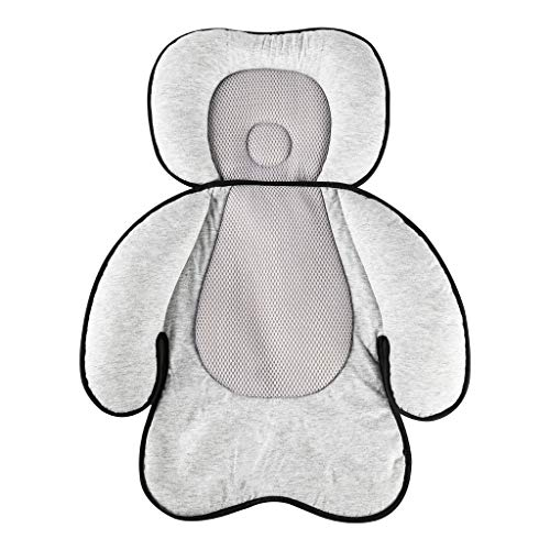 KAKIBLIN 2 in 1 Baby Stroller Cushion, Infant Car Seat Pad Baby Head and Body Support Pillow for Newborn and Toddler 0-12 Month, Grey