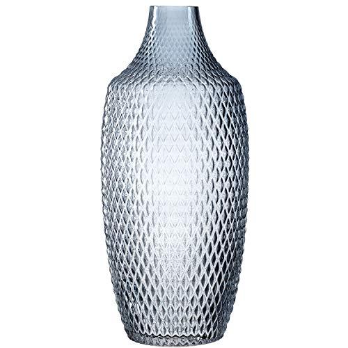 Leonardo Poesia Boden-Vase, handgefertigte Deko-Vase in Blau, ovale Blumen-Vase aus Glas, Tisch-Dekoration mit Relief-Optik, 40 cm hoch, 018675