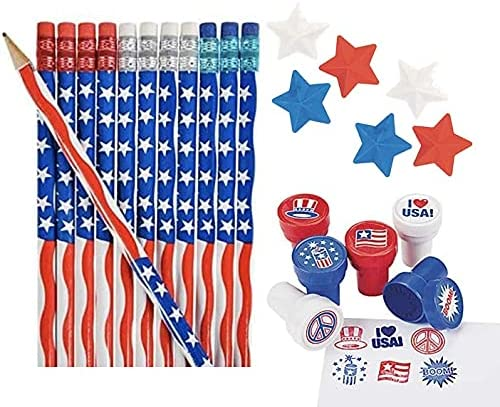 Patriotic Stationary Set- Pencil, Stampers, and Erasers