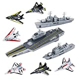 deAO Kit de Jeu Porte-Avions Miniature avec véhicules de Bataille et Avion de ravitaillement