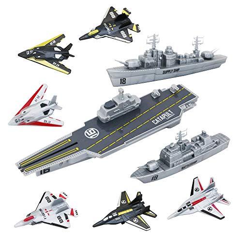 deAO Unidad de Defensa Militar Nave Portaaviones con Función de Expulsión, Vehículos Aéreos y Marítimos Incluidos Conjunto de 9 Piezas Coleccionables de Las Fuerzas Armadas