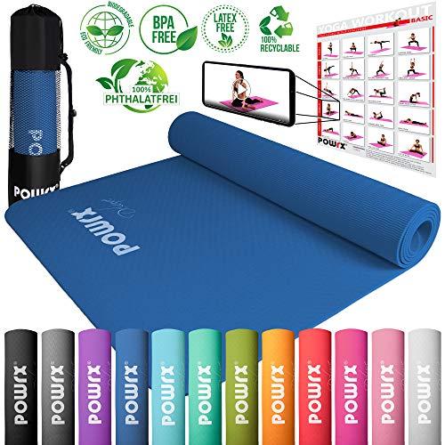 POWRX Deluxe Yogamatte - rutschfest - TPE umweltfreundlich | Gymnastikmatte TPE 173 x 61 x 0,5 cm | Trainingsmatte Pilates-/Übungsmatte | Hautfreundlich (Blau)