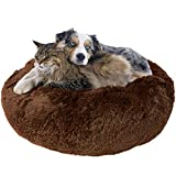 Downtown Pet Supply Premium Donut Dog Bed, Cozy Poof Style Giant Pet Bed Great for Cats & Dogs - Orthopedic, Washable, Durable Dog Bed (Brown, Large)