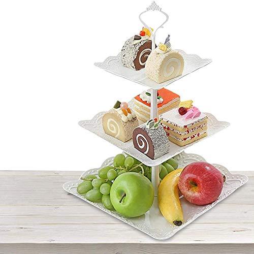 YCX 3-Stöckig Etagere Weiß Obstteller Gebäckschale Cupcake Ständer Dessert Ständer Törtchen Gebäck Muffin Obst Halter, Für Party,Weiß