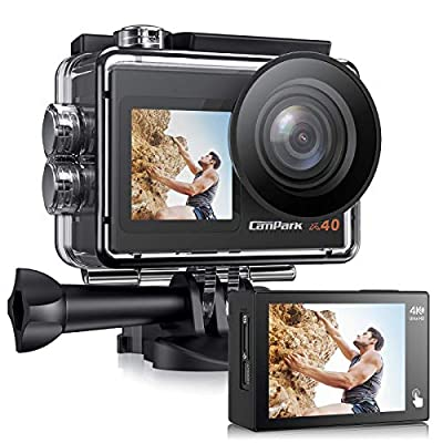 ?2021 Newest? Campark X40 Action Camera 4K 20MP Dual Screen EIS Touchscreen Remote Control WiFi Waterproof 40M Vlogging Camera with 2x1350mAh Batteries and Accessories Kit Compatible with Go-Pro from Campark