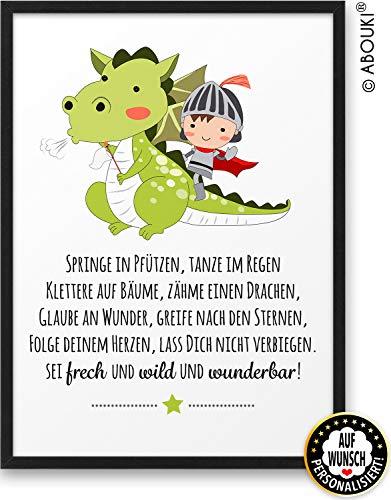 Drache Wild und Wunderbar ABOUKI Kunstdruck Bild auf Wunsch personalisiert Geschenk-Idee Taufe Geburt Geburtstag Weihnachten Einschulung für Kind Kinder Junge Mädchen Baby - ungerahmt
