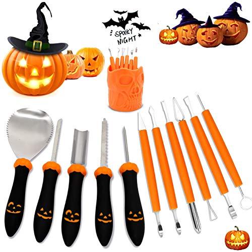 Korey Herramienta de Tallar Calabaza, Kit de Tallar Calabaza Halloween, Pumpkin Carving...