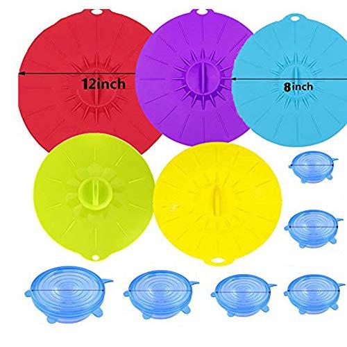 Nifogo Coperchi in Silicone Estensibile Set 5+6 - Universali Riutilizzabile Silicone Stretch Coperchi per Pentole, Scodelle, Cottura, Cucinare, Tazza, Microonde (X- 5 PCS + 6 Pack)