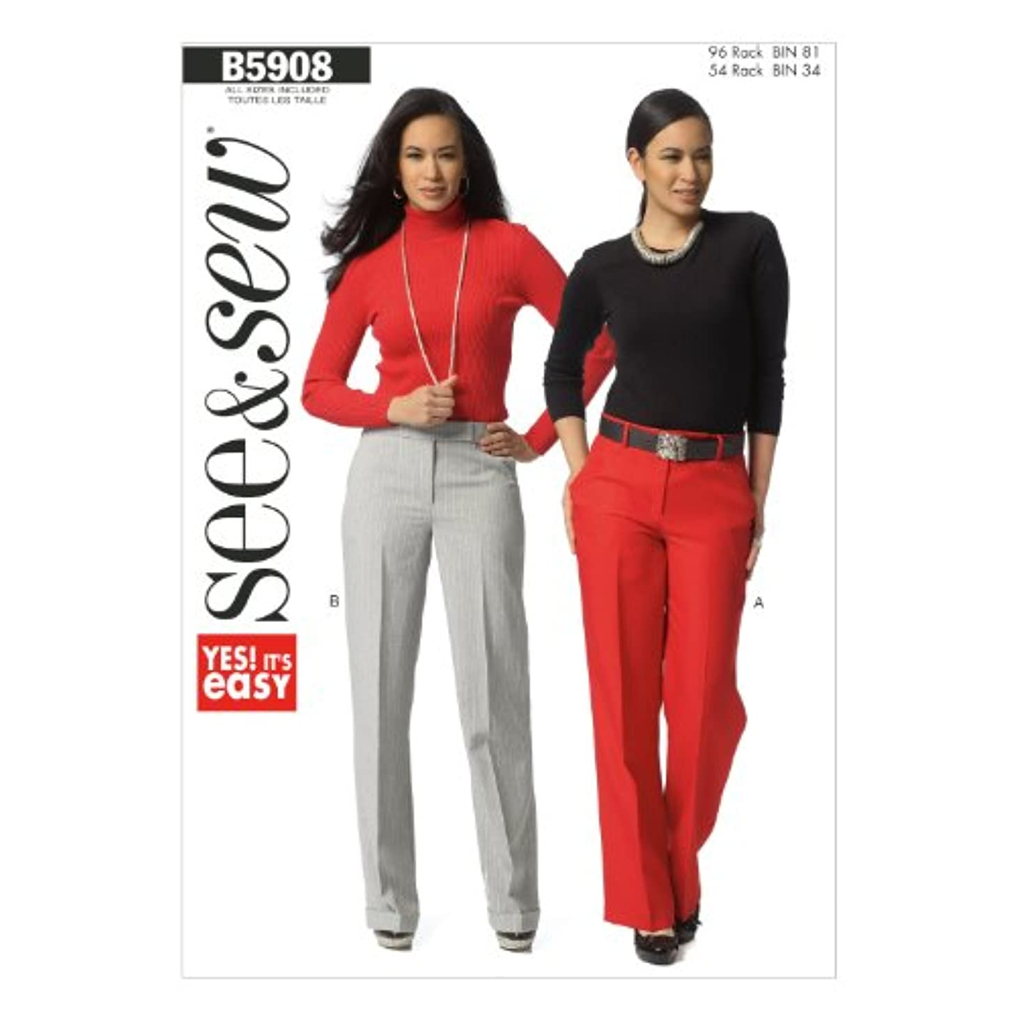 BUTTERICK PATTERNS B5908 Misses/Misses' Petite' Pants Sewing Template, Size A in One Envelope