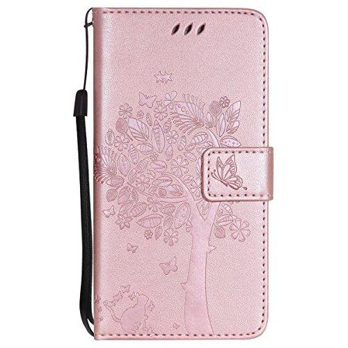 ISAKEN Compatibile con Huawei P9 Custodia, Libro Flip Cover Portafoglio Wallet Case Albero Design in Pelle PU Protezione Caso con Supporto di Stand/Carte Slot/Chiusura - Rose Gold