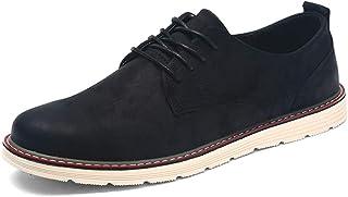 CAIFENG Negocio Oxford para Hombres Zapatos Formales Lace Up Cuero de Microfibra Experimentado Malla Cosida Dentro de Plan...